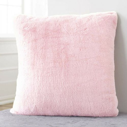Large Luxury Faux Rabbit Fur Soft Plush Filled Cushion Plain Blush Pink 56cm x 56cm